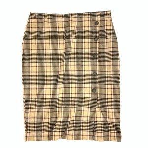 14TH & UNION Plaid Button Knee-Length Pencil Skirt